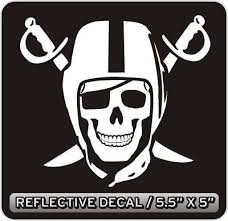 Oakland Raiders Skull Reflective Decal Sticker Reflective Decals Oakland Raiders Raiders
