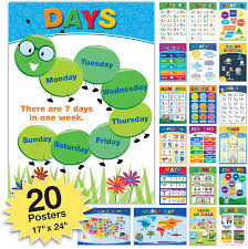 Amazon Com 20 Extra Large Educational Posters For Kids Toddlers 24x17 Double Sided English And Spanish Includes Alphabet Colors Letters Numbers Shapes Months Days Weather Time Animals Solar System Seasons Map
