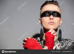 beautiful woman warrior makeup boxing