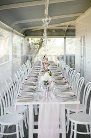 All white reception dining on the verandah at byronviewfarm. | Wedding  place settings, Byron bay weddings, Place settings