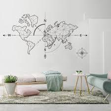 World Map Wall Art Decal Global Explorer Compass World Travel Theme Pv Nordicwallart Com