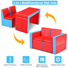 Gymax Multi Functional Kids Sofa Table Chair Set Couch Storage Box Furniture Bedroom Walmart Com Walmart Com