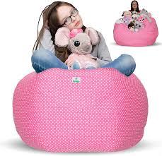 Amazon Com Kroco Stuffed Animal Storage Bean Bag Chair For Kids Room Stuff N Sit Toy Storage Pouf Beanbag Cover For Girls Boys Creative Organizer Seat Holder Childrens