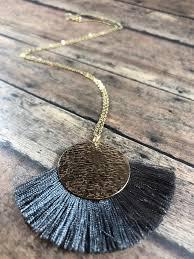 tassel necklace gold filled long
