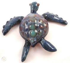 art glass sea turtle paperweight
