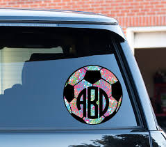 Monogram Soccer Car Decal Car Stickers Car Decor Cute Car Accessories Lilly Inspired Car Decals Monogrammed Soccer Bal Cute Cars Cute Car Accessories Car Decor