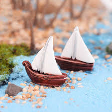 mini beach boat dollhouse fairy garden