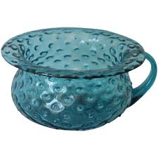blue bubble glass potty chamber pot