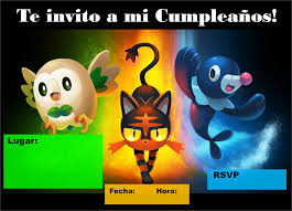 Lindas Invitaciones De Pokemon Sol Y Luna