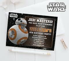 10 Personalised Star Wars Birthday Invites Invitations Bb8 Robot