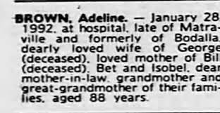 Obituary for Adeline BROWN - Newspapers.com