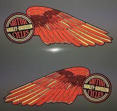 Harley Davidson High Reflective Wings Fuel Tank Decals Shovelhead Red Gold Ebay