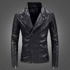 oblique zipper leather jacket