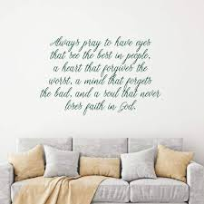 Amazon Com Prayer Wall Decal Pray To See The Best In People Cursive Lettering Quote Living Room Bedroom Or Entryway In Your Home Handmade