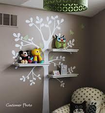 Tree Wall Decals The Original Shelving Tree With Birds Etsy Baby Nursery Decor Nursery Decor Kids Room