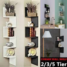 Floating Wall Shelves Corner Shelf Storage Display Bookcase Kids Room Tier Decor Ebay