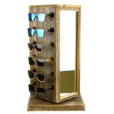 wood spinning sunglasses rack with