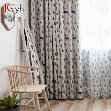 2020 White Blackout Curtains For Living Room Christmas Tree Curtains For Kids Bedroom Deer Window Drapes Baby Room Rideau Enfant From Hymen 21 19 Dhgate Com