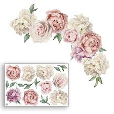 Watercolour Peonies Rose Wall Decals Kids Room Decor Flowers Wall Stickers Peel And Stick Removable Stickers For Kids Nursery Bedroom Living Room Wish