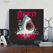 Modern Black White Shark Horror Pop Movie Large Posters Prints Vintage Wall Art Pictures Bar Home Decor Canvas Painting No Frame Art Print Poster Wall Picturesprint Poster Aliexpress