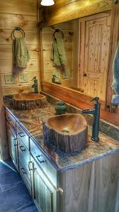 custom concrete wood log sink tree