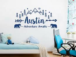 Adventure Awaits Wall Decal Custom Name Vinyl Stickers Mountain Nursery Nv243 Ebay