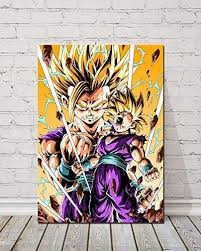 Amazon Com 1 Piece Super Sanyan Gohan Dragon Ball Anime Poster Cartoon Wall Stickers Canvas Art Decorative Paintings For Home Decor Wall Art 24x36inch Posters Prints