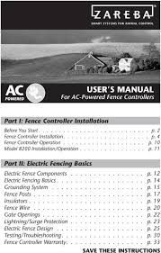 User S Manual For Ac Powered Fence Controllers Part I Fence Controller Installation Part Ii Electric Fencing Basics Pdf Free Download