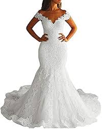Amazon Com Ttybridal Off Shoulder Mermaid Wedding Dress Long 2019 Lace Bridal Gowns W35 Clothing