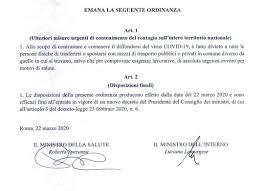 Nuova ordinanza anti-contagio: divieto spostamenti da un comune ...