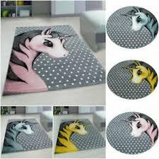 Quality Soft Kids Room Pink Yellow Blue Unicorn Children Rug Round Carpet Mat Ebay