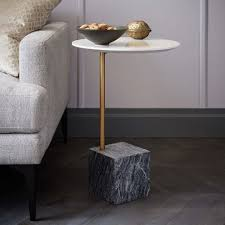 cube c side table white gray marble