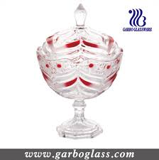 colored feather design glass candy bowl