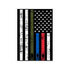 Thin Line Us American Flag Support Military Police Fire Stressed Vinyl Doggy Style Gifts