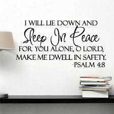 Modern Art Character Black Wall Sticker Sleep In Peace Psalm 4 8 Bible Verse Inspiration Wall Decal Quote Vinyl Sticker Wall Stickers Aliexpress