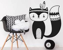 Fox Wall Decal Tribal Fox Nursery Wall Decal Woodland Fox Etsy In 2020 Fox Decal Tribal Fox Nursery Wall Decals