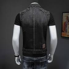 motorcycle black men denim vest vintage