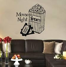 Red Barrel Studio Truelson Movie Night With Popcorn And Tickets Vinyl Graphic Word Wall Decal Wayfair
