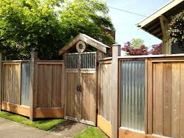 Fence With Wood And Corrugated Sheet Metal Metal Fence Panels Corrugated Metal Fence Fence Decor