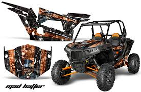 Amr Racing Full Custom Utv Graphics Decal Kit Wrap Mad Hatter Orange Polaris Rzr 1000 13 18 Pol Rzr1000 2dr 13 18 Mh O