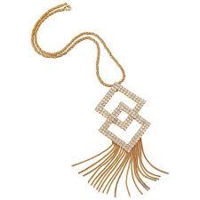 gold diamond crystal tassels pendant