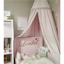 Amazon Com Loaol Kids Bed Canopy With Pom Pom Hanging Mosquito Net For Baby Crib Nook Castle Game Tent Nursery Play Room Decor Pink Baby