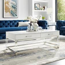 caspian white chrome coffee table