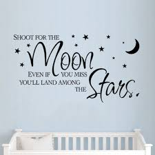 Lovely Inspiration Quotes Wall Decals Shoot For The Moon Stars For Children Room Vinyl Wall Sticker Decor Quote Wall Decal Inspirational Quotes Wall Decalswall Decals Aliexpress