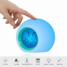 Alarm Clock For Kids Bedroom Wake Up Light Digital Clock With Indoor Temperature Calendar 7 Colors Changing Light Walmart Com Walmart Com