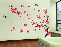 Wall Decals Amazon Com Yyone Plum Blossom Red Flowers Tree Branch Swallows Art Wall Mural Home D Wall Stickers Bedroom Bird Wall Decals Wall Sticker Design