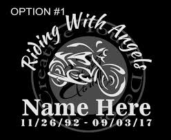 Personalized Riding With Angels Car Decal With Name And Dates Etsy