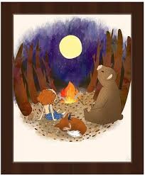Amazon Com Campfire With Friends Ginger Whimsical Painting Of Boy With Bear Fox In The Moonlight For Boys Kids Room Wall Art Print On Canvas With Espresso Frame Posters Prints