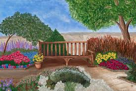 park bench in a garden painting by