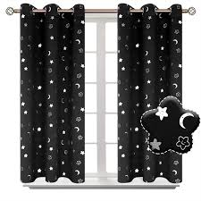 Bgment Moon And Stars Blackout Curtains For Kids Bedroom Grommet Thermal Insulated Room Darkening Printed Curtains For Nursery 2 Pan